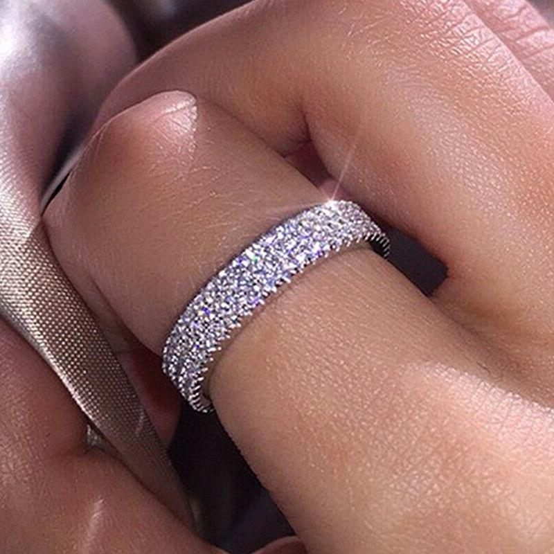 Gorgeous 925 Rings Round Cut Sapphire Wedding Ring 6-10