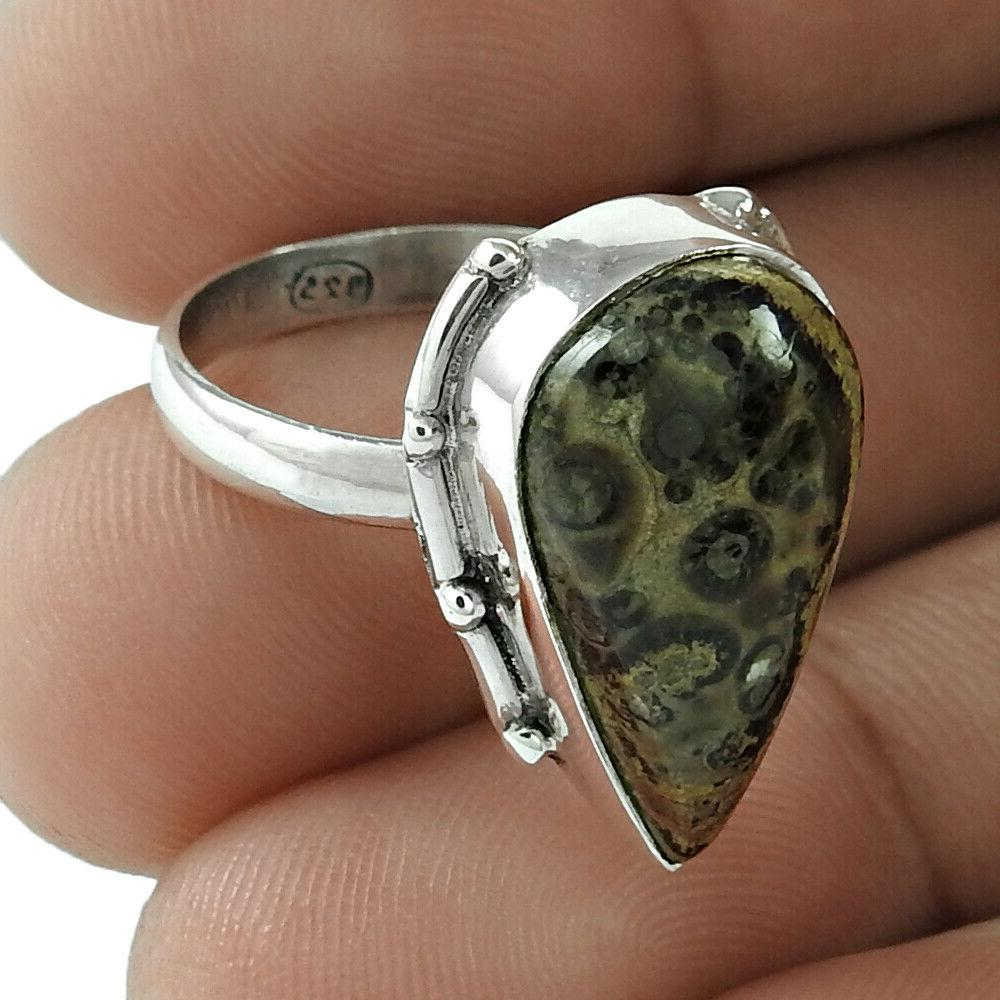 CHRISTMAS GIFT HANDMADE 925 Silver Natural CORNOLD FOSSIL Et