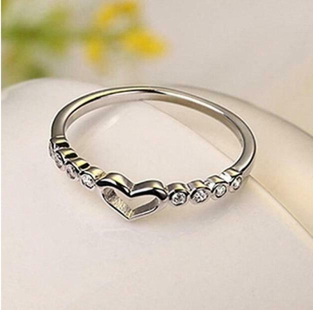 Heart 925 Silver Rings White Sapphire Ring Ship 6-10