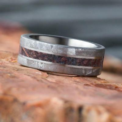 Mens With Gibeon Meteorite Titanium Wedding