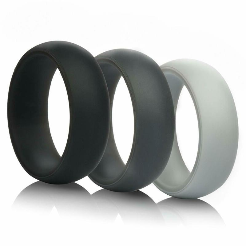 Thunderfit Mens Silicone Wedding Rings Wedding Bands - 5 Pac