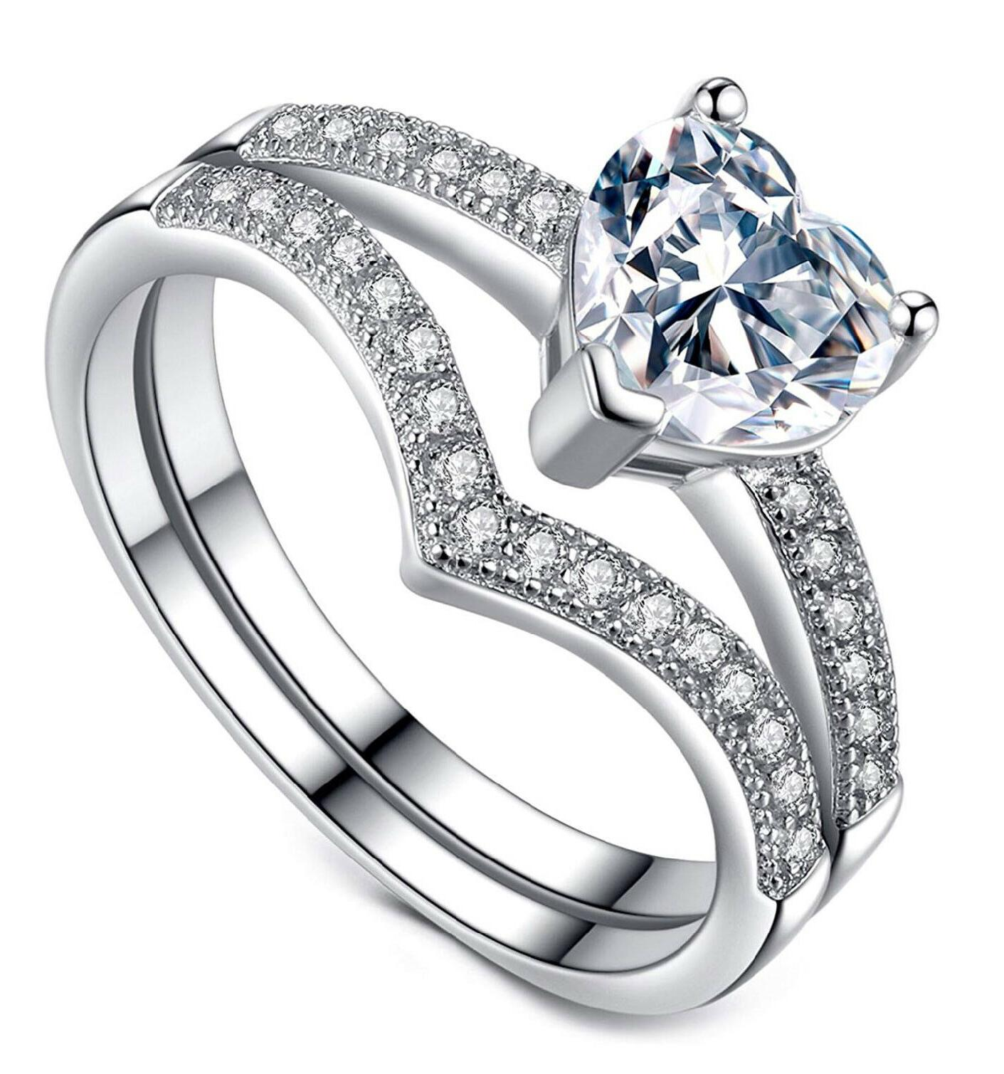 promise rings for her 1ct heart cubic