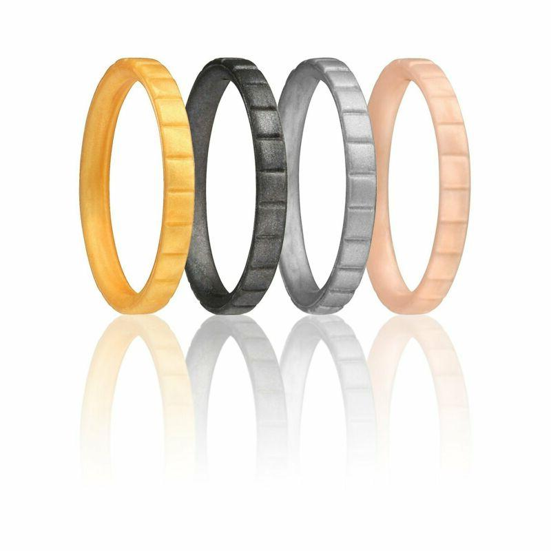 Roq Silicone Wedding Ring For Women, Affordable Thin Line An