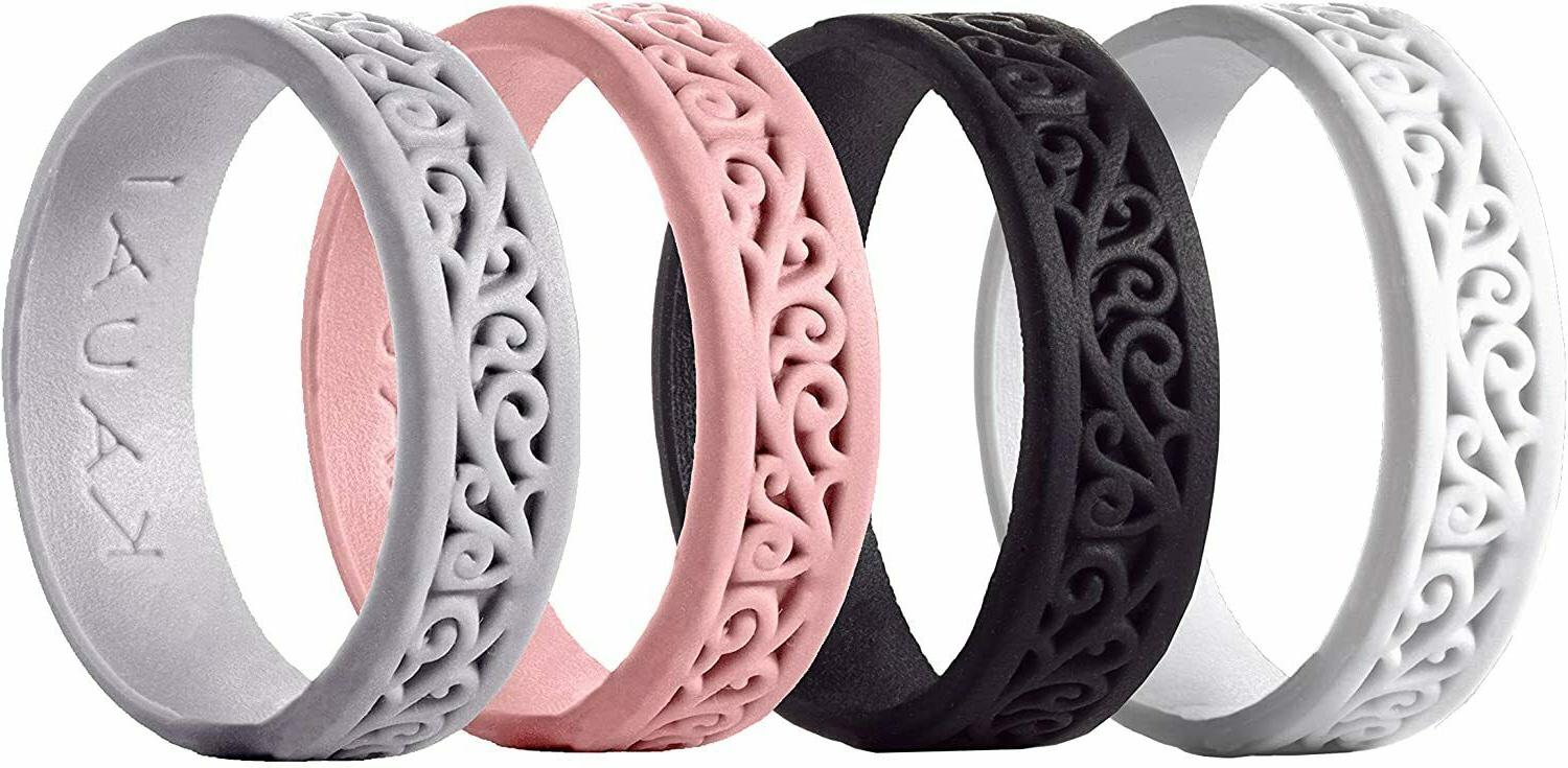silicone wedding rings for women 4pack size