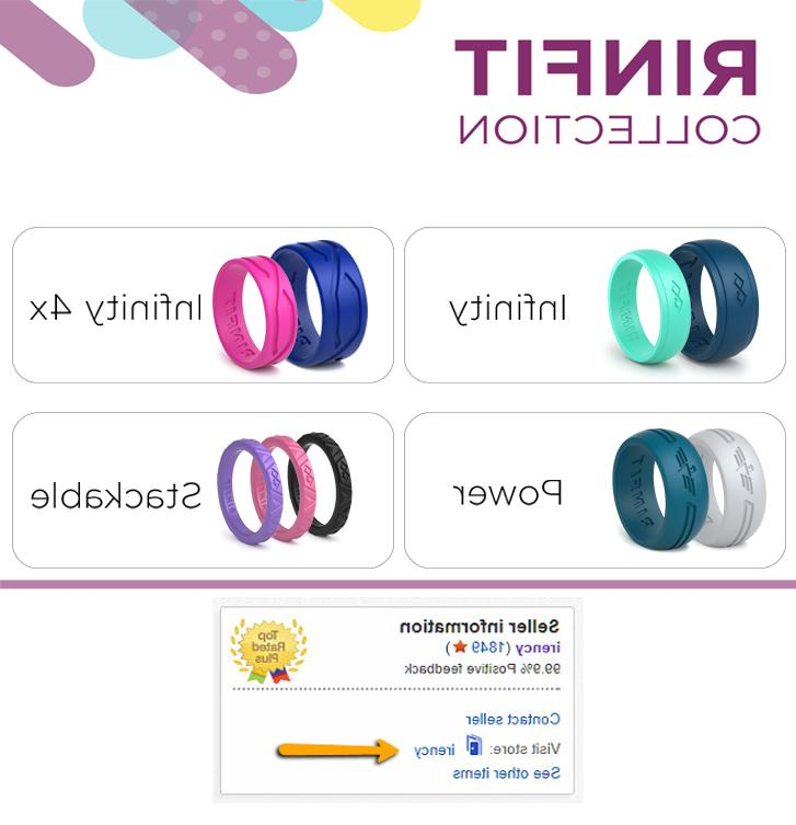 Silicone Wedding bands set for Men - Rings pack. Infinity
