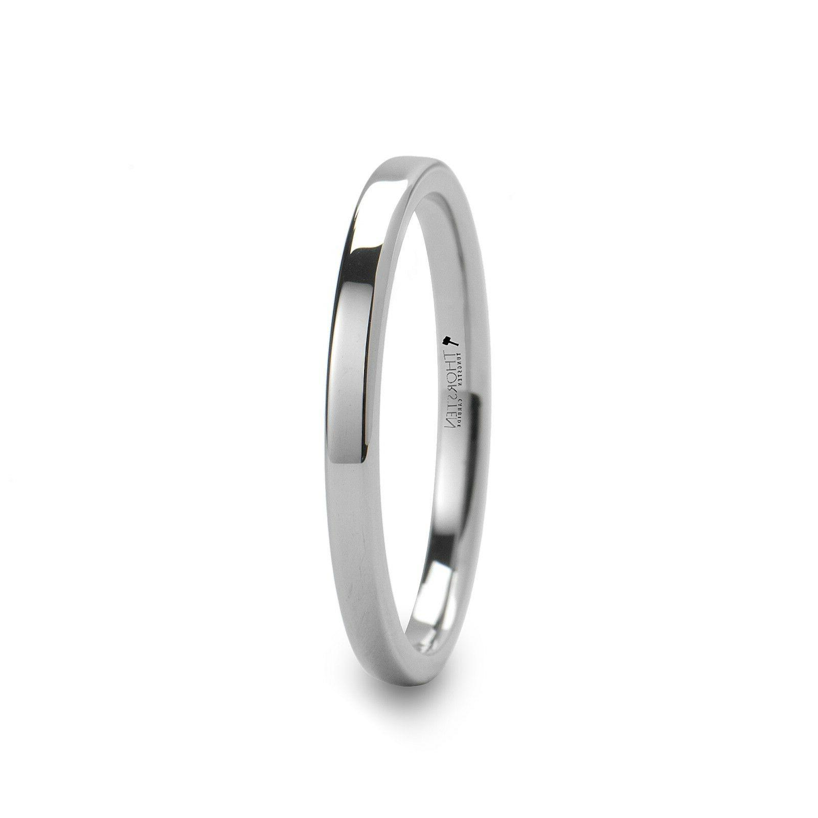 THORSTEN - SPARTAN Flat Tungsten Comfort Wedding Ring - 2mm -