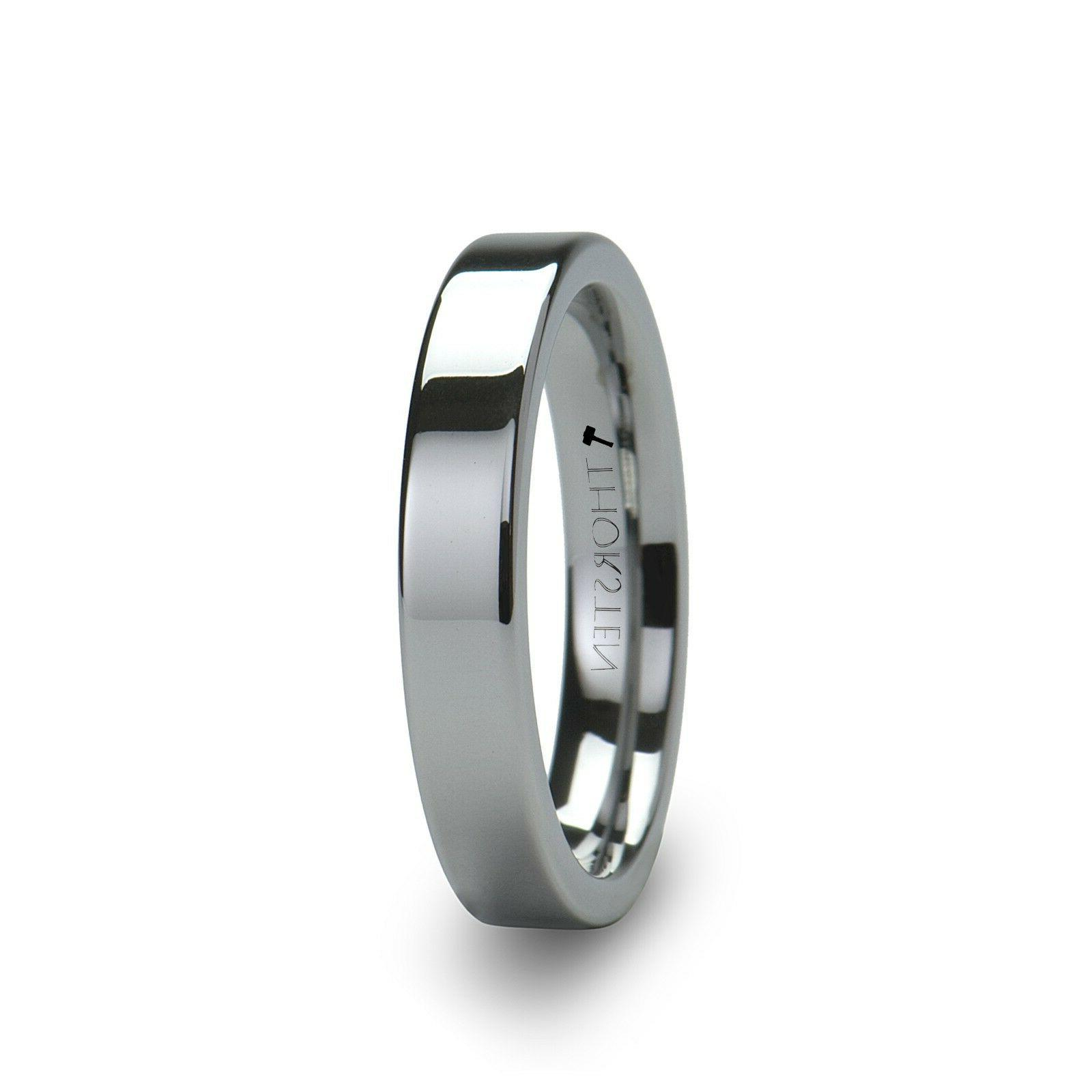 spartan flat tungsten carbide comfort fit wedding