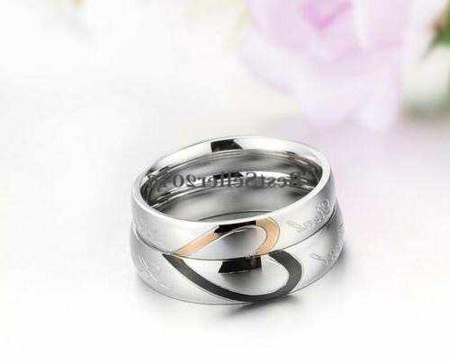 """Stainless """" Love Heart Promise Ring Wedding Band"""