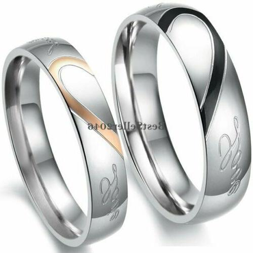 stainless steel real love heart couples promise