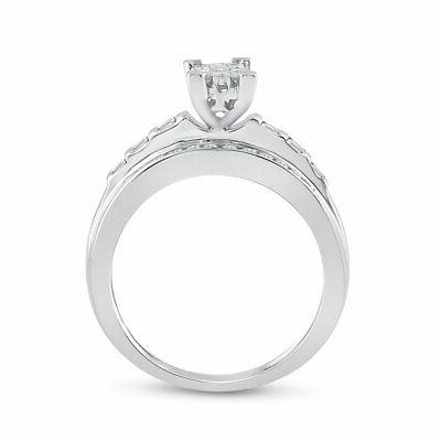 Sterling Diamond Cluster Ring 1/2 Cttw
