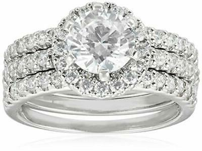 sterling silver round cut cubic zirconia halo