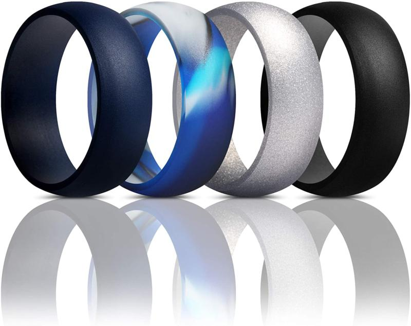 Thunderfit Mens Silicone Rings Wedding Bands - 7 Rings / 4 R