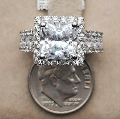 Women's Genuine Solid Real 925 CZ Promise Wedding Ring