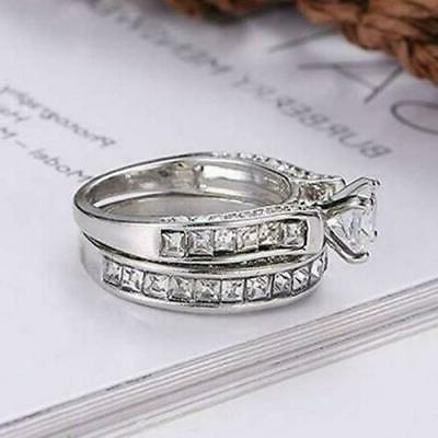 Womens CZ Crystal Ring Band 2 Piece Set