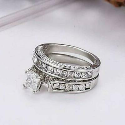 Womens 925 CZ Engagement Ring Band Piece Set