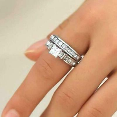 Womens Sterling CZ Crystal Engagement Ring Band Set