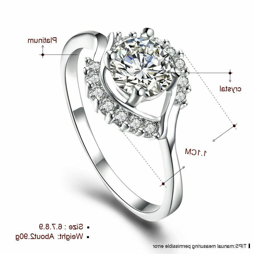 Womens Platinum Plated Prong CZ Engagement