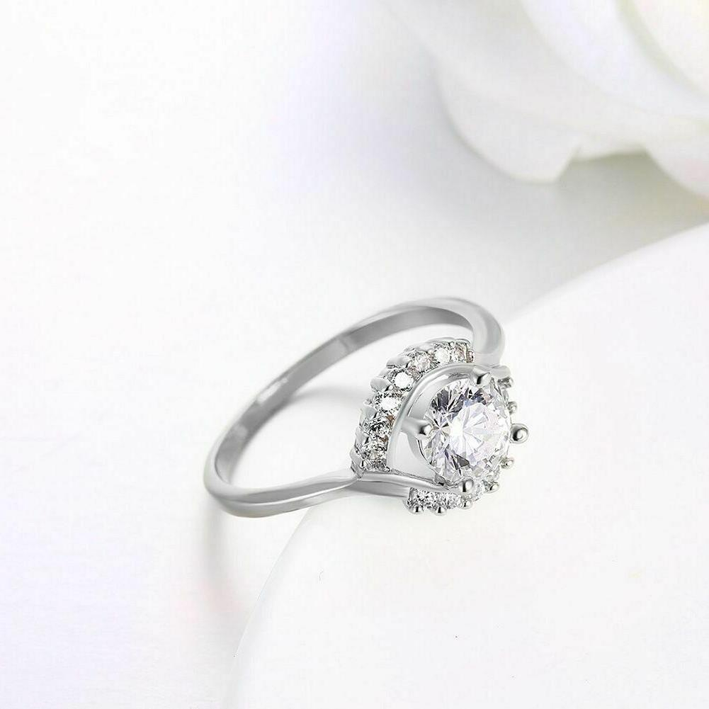 Womens Plated Elegant Prong AAA CZ Engagement Wedding Ring #DR213