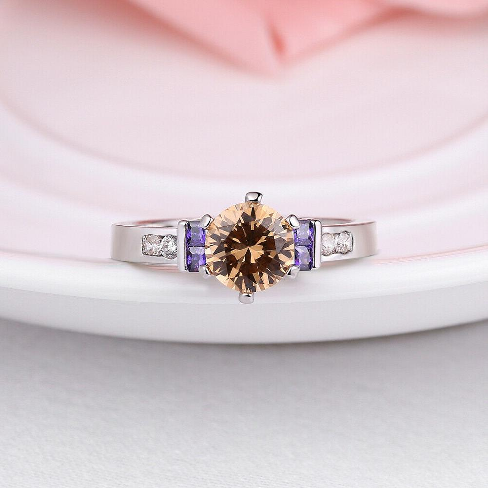 Womens Plated Prong Set AAA CZ Crystal Engagement Ring