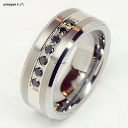 Luxury ATOP Tungsten Ring Black Diamonds Mens Wedding Band B