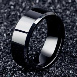 Men Black Titanium Stainless Ring Wedding Lover Couple Rings