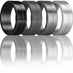 ThunderFit Men's Silicone Rings 4 Pack Rubber Wedding Bands
