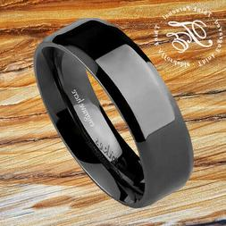 Mens or Womens Wedding Promise Band Ring Engraved Black Stai