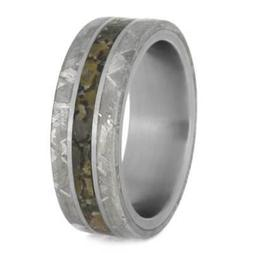 mens ring with gibeon meteorite edges titanium