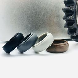 ThunderFit Mens Silicone Rings Wedding Bands - 4 Pack Size 7
