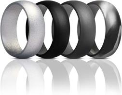 ThunderFit Mens Silicone Rings Wedding Bands - 4 Pack Classi