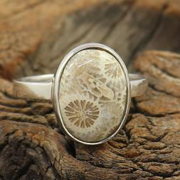 Natural Fossil Coral 925 Sterling Fine Silver Stacking Women