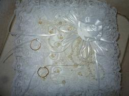 """New Satin Lace & Pearls Wedding Ring Pillow """"White Rose"""" by"""