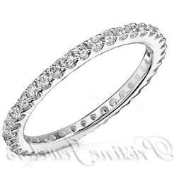 NEW Women Sterling Silver Wedding Band Anniversary Thin CZ S