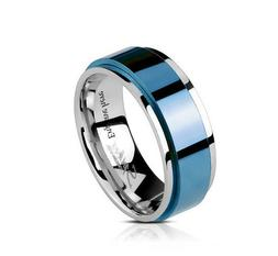 Personalized Engraved Beveled Blue Spinner Mens Wedding or P