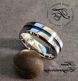 Personalized Engraved Blue Groove Line Mens Wedding or Promi