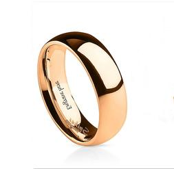 Personalized Engraved Rose Gold IP Stainless Womens Wedding