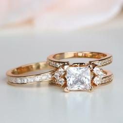 Princess Cut Rose Gold Women Interchangeable Engagement Ring
