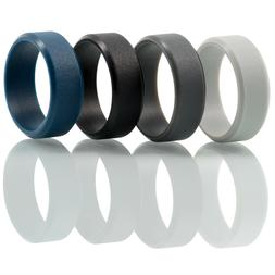 Silicone Ring Mens Rubber Wedding Band Thin Athletic 2 Pack