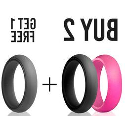 Silicone Wedding Ring Women Thin Rubber Band Stackable Engag