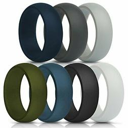ThunderFit Silicone Rings, 7 Pack & Singles Wedding Bands fo