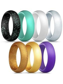 ThunderFit Silicone Rings, 7 Pack Size 4.5 - 5/Wedding Bands