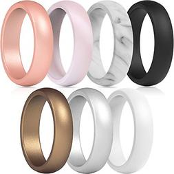 ThunderFit Silicone Rings, 7 Rings Wedding Bands for Women -
