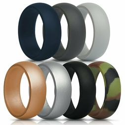 ThunderFit Silicone Rings Mens Bands 7 Pack 8.7 mm Wide Size