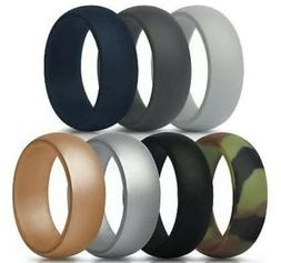 ThunderFit SILICONE RINGS Mens Wedding Bands 7 Pack Size 9 G