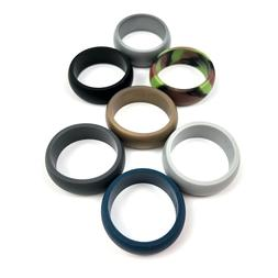ThunderFit SILICONE RINGS Mens Wedding Bands 7 Pack 8.7mm Wi