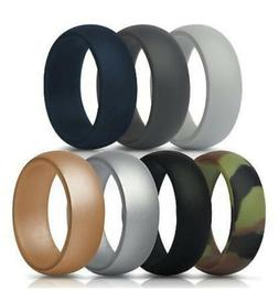 ThunderFit SILICONE RINGS Mens Wedding Bands 7 Pack Size 12