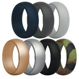 ThunderFit SILICONE RINGS Mens Wedding Bands 7 Pack Size 11