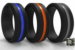 Arua Silicone Wedding Bands  For Him. 3-Pack. Men Rings Desi