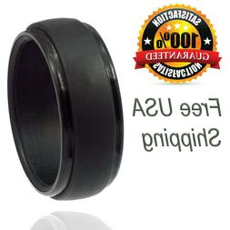 Silicone Wedding Ring for Men by LiveLife Black Groove Rubbe