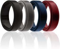 ROQ Silicone Wedding Ring for Men, 4 Packs  Singles Silicone